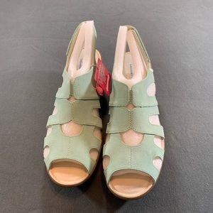 Mint Suede Peep-toe Slingback Wedges - Stylin'
